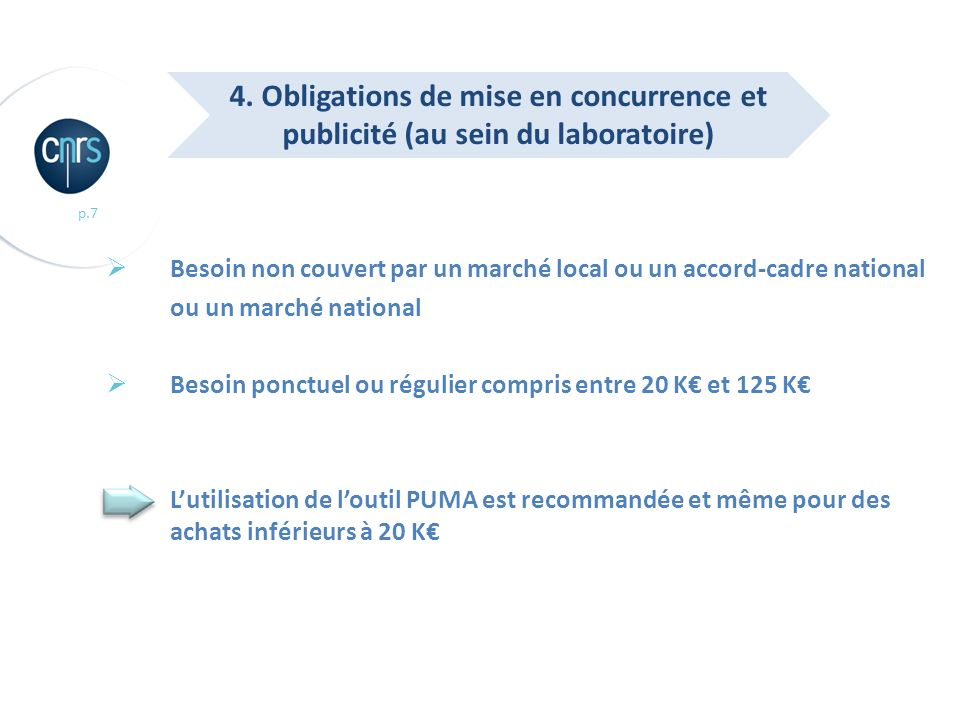 4. Obligations de mise en concurrence et publicité (au sein du laboratoire)