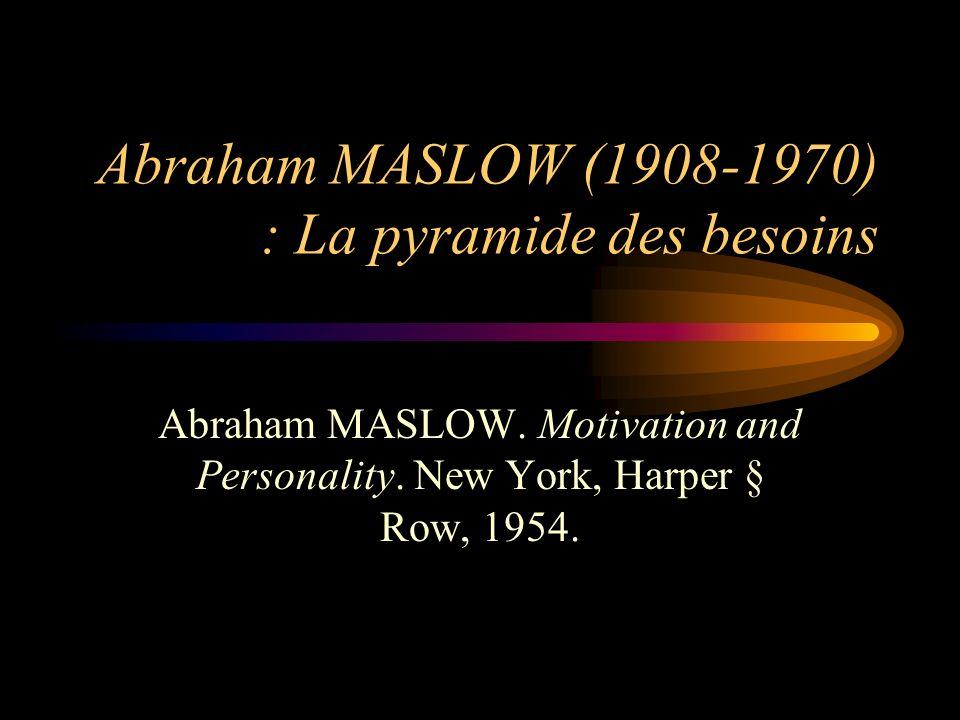 Abraham MASLOW (1908-1970) : La pyramide des besoins