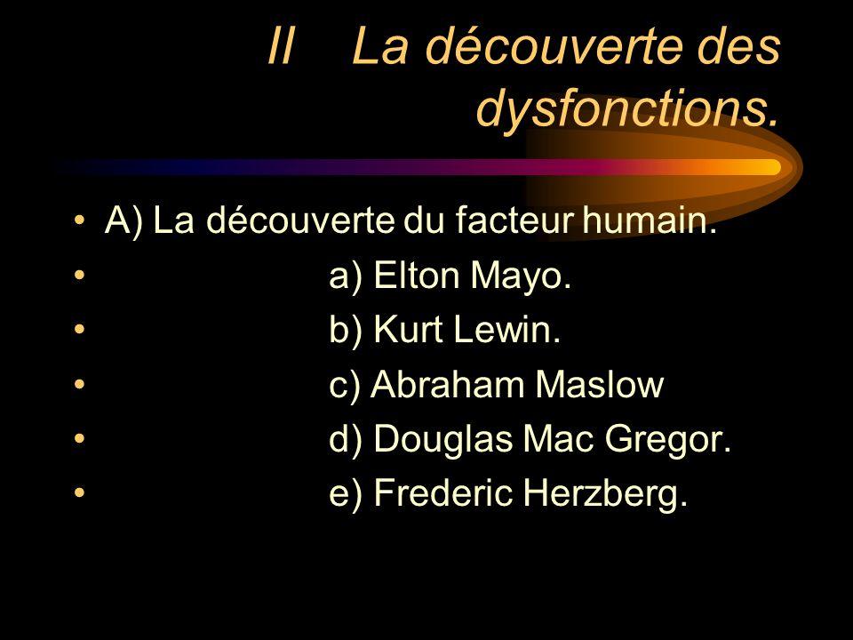 II La découverte des dysfonctions.