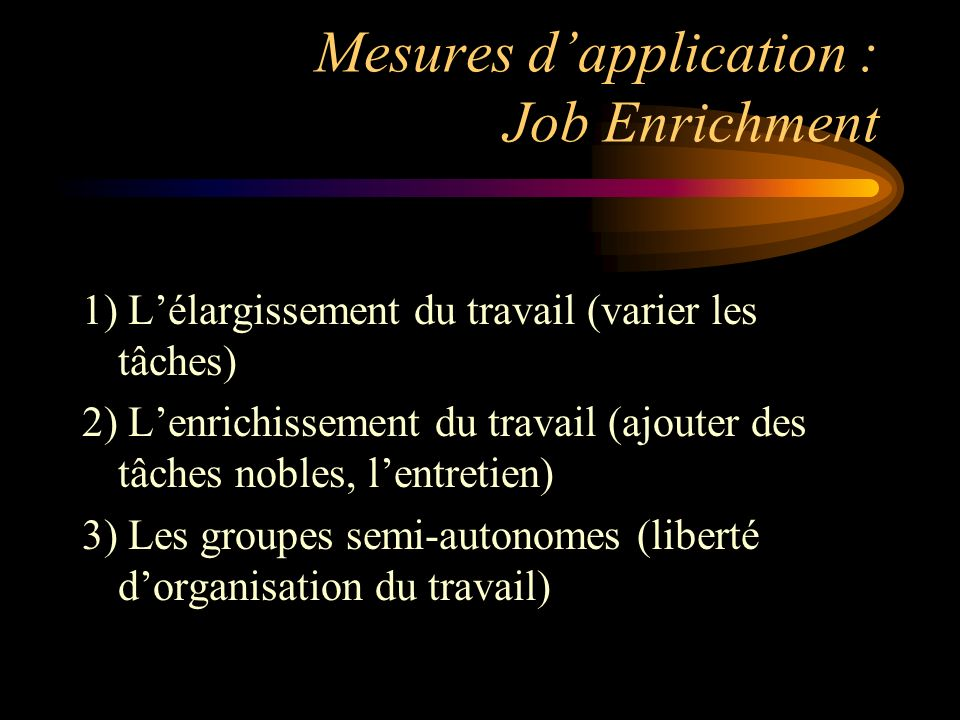 Mesures d'application : Job Enrichment