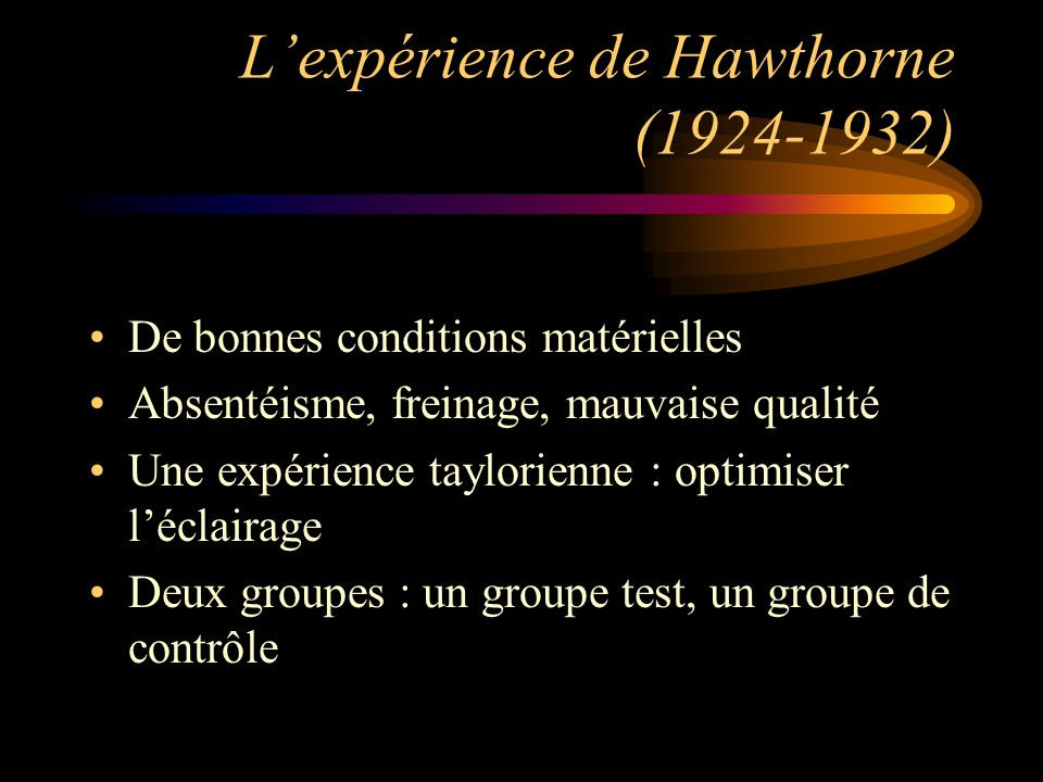 L'expérience de Hawthorne (1924-1932)