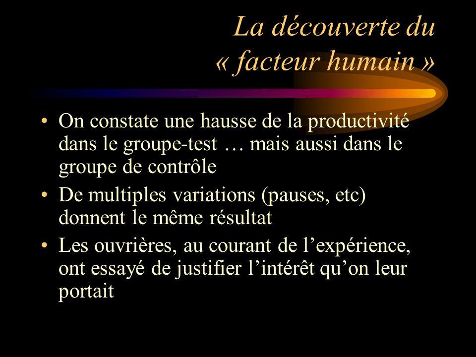 La découverte du « facteur humain »