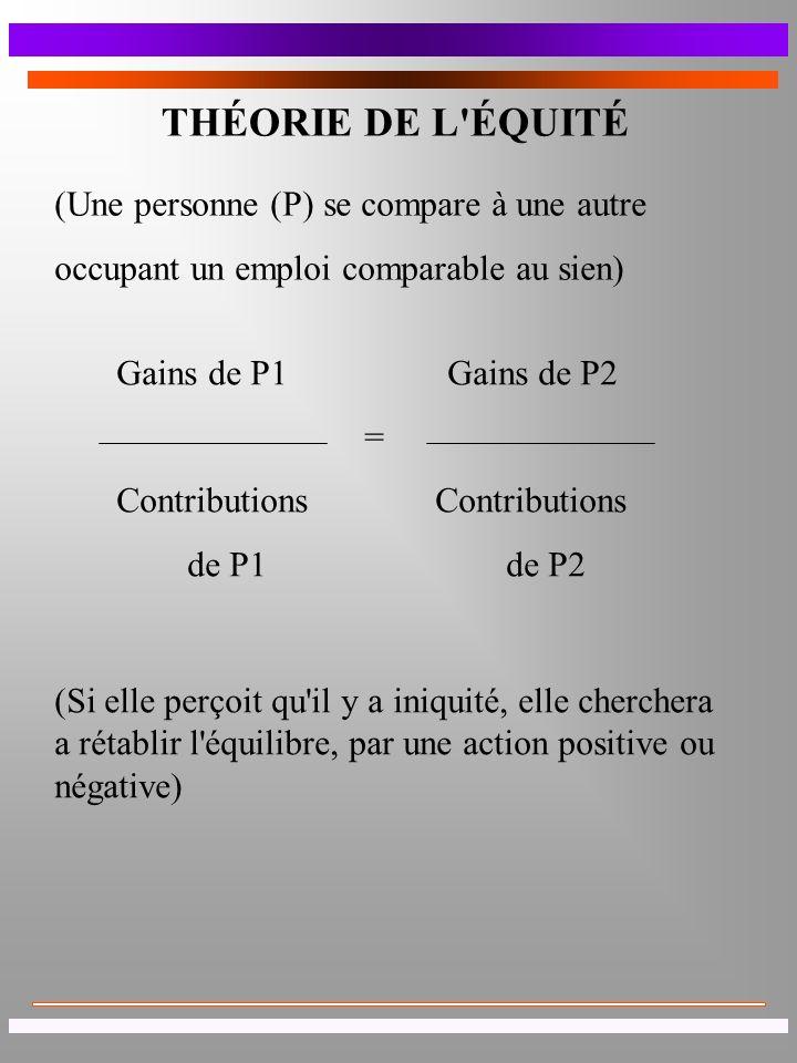 THÉORIE DE L ÉQUITÉ (Une personne (P) se compare à une autre
