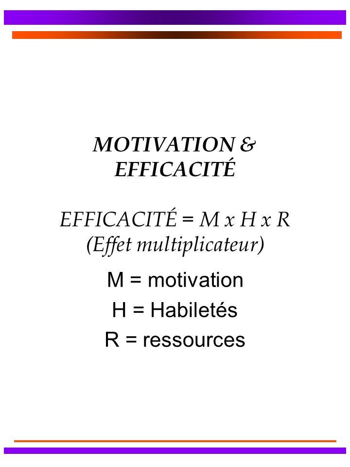 MOTIVATION & EFFICACITÉ EFFICACITÉ = M x H x R (Effet multiplicateur)