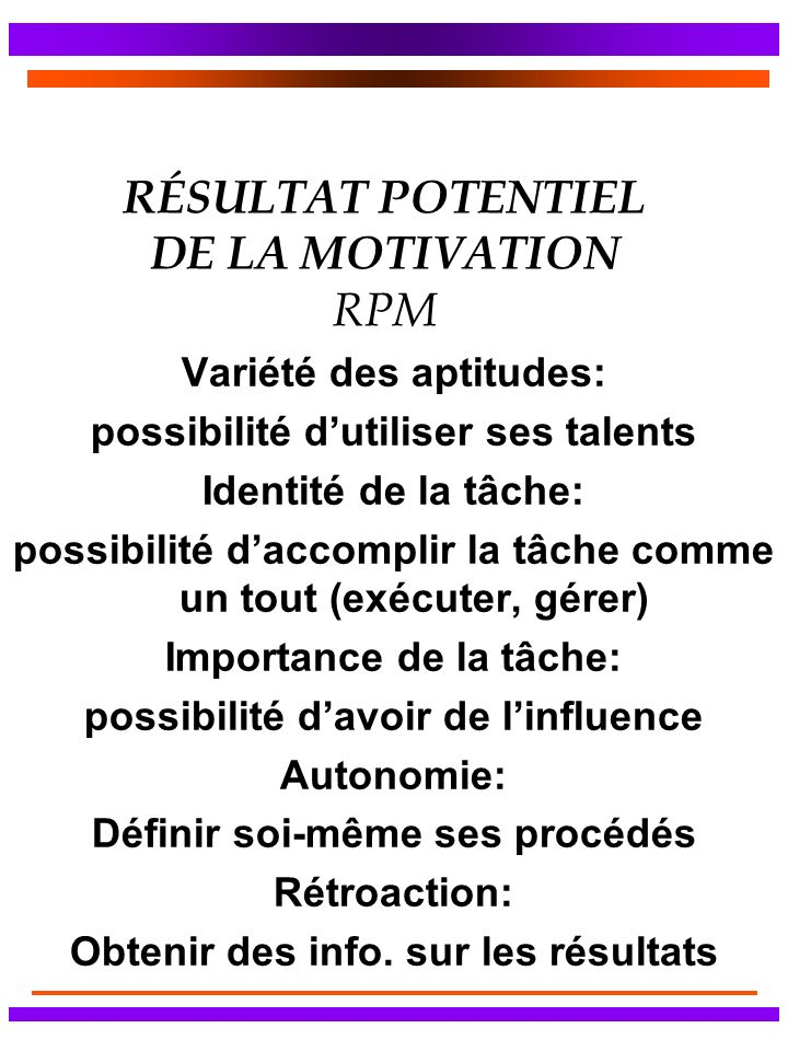 RÉSULTAT POTENTIEL DE LA MOTIVATION RPM