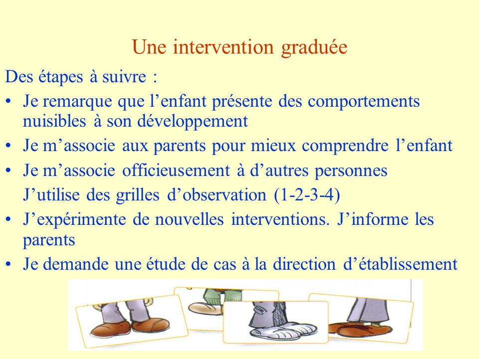 Une intervention graduée