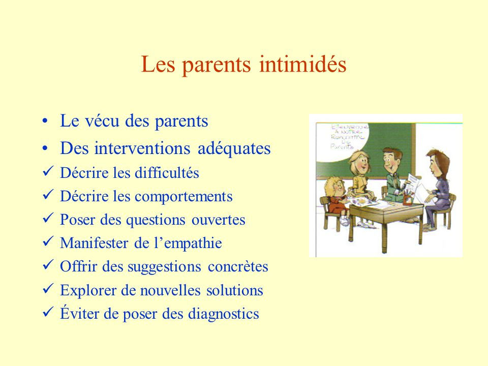 Les parents intimidés Le vécu des parents Des interventions adéquates