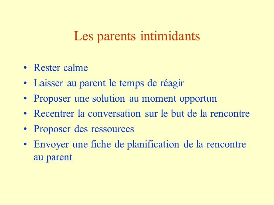 Les parents intimidants