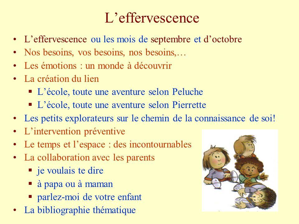 L'effervescence L'effervescence ou les mois de septembre et d'octobre
