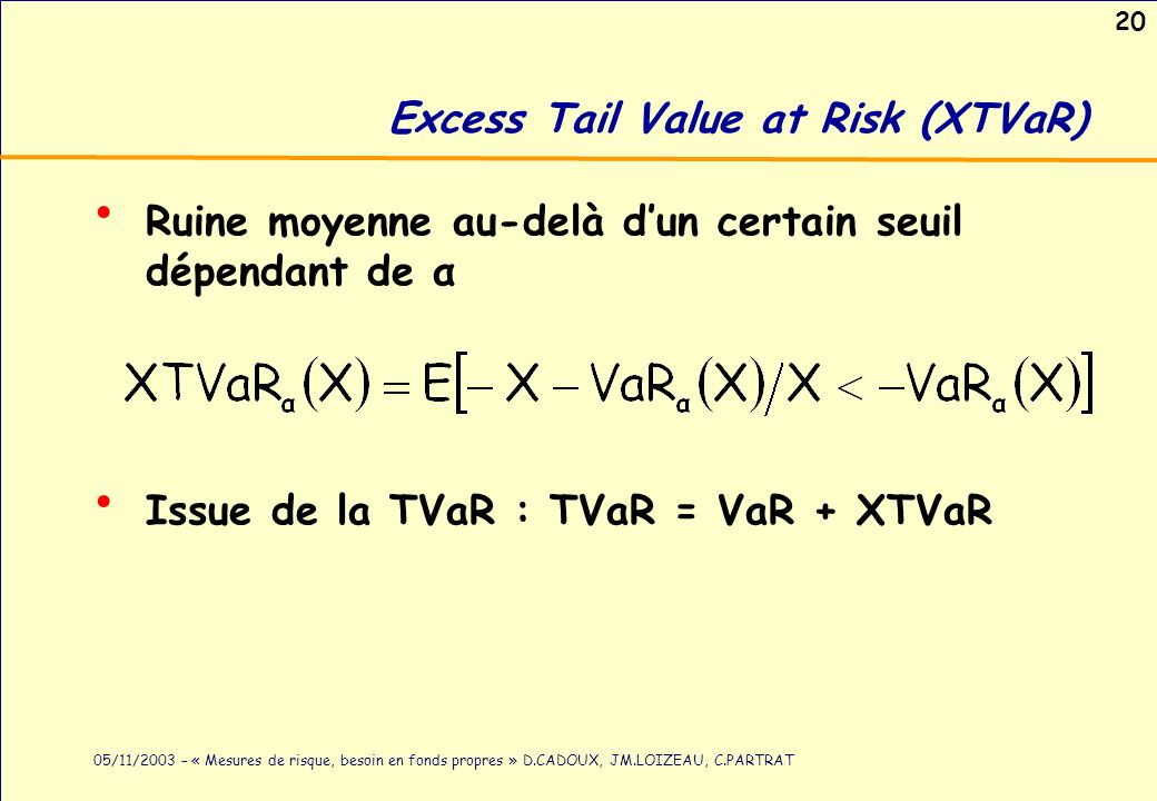Excess Tail Value at Risk (XTVaR)