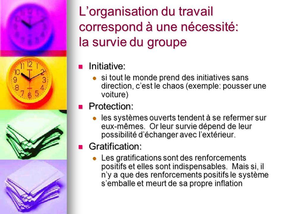 L'organisation du travail correspond à une nécessité: la survie du groupe
