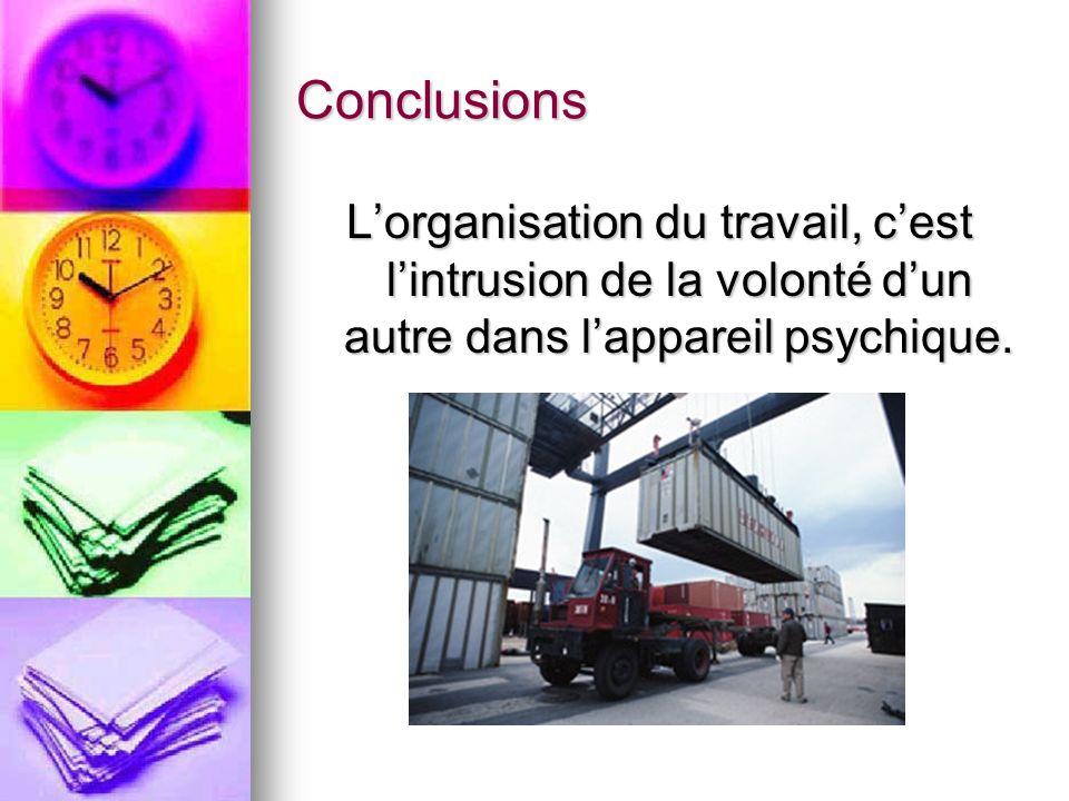 Conclusions L'organisation du travail, c'est l'intrusion de la volonté d'un autre dans l'appareil psychique.