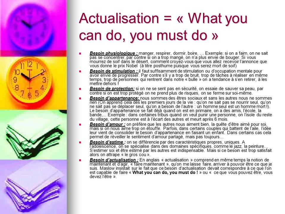 Actualisation = « What you can do, you must do »
