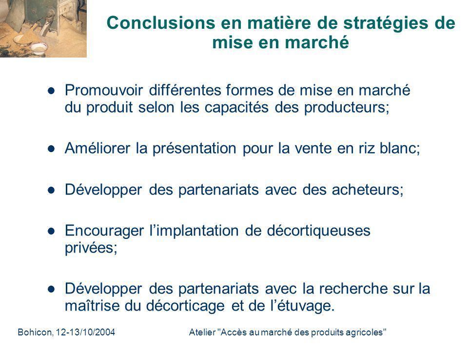 Conclusions en matière de stratégies de mise en marché