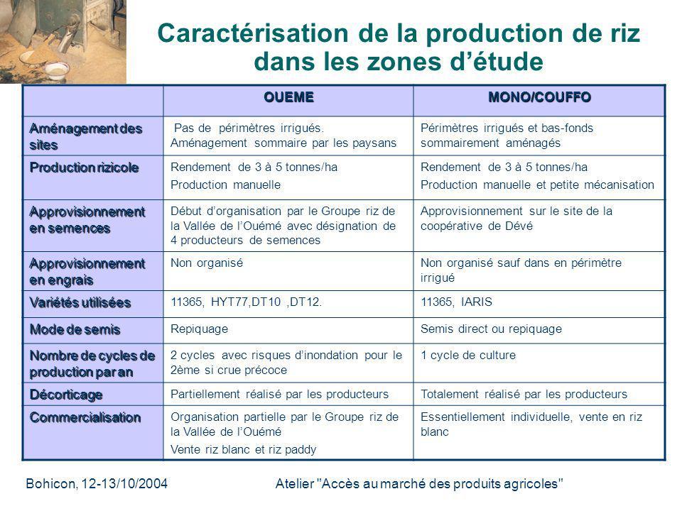 Caractérisation de la production de riz dans les zones d'étude