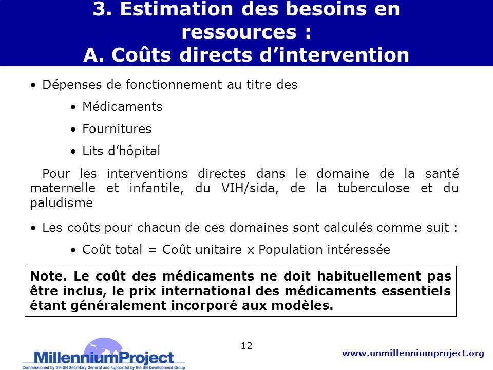 3. Estimation des besoins en ressources : A