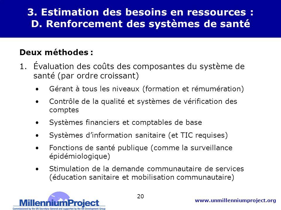3. Estimation des besoins en ressources : D