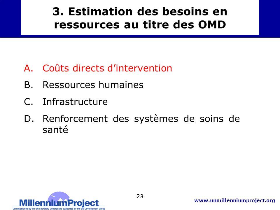 3. Estimation des besoins en ressources au titre des OMD