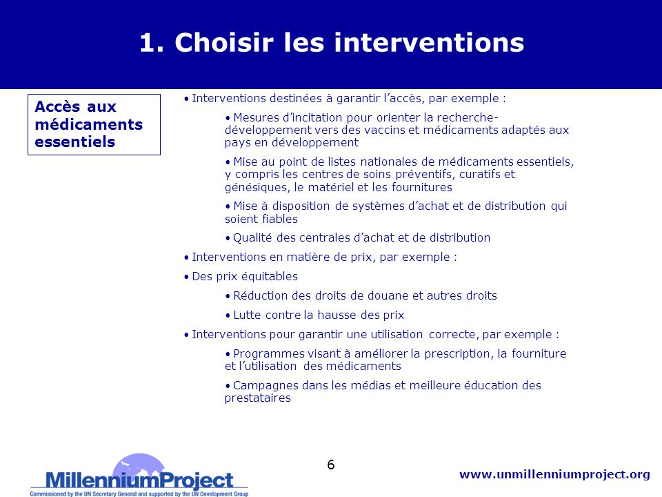 1. Choisir les interventions