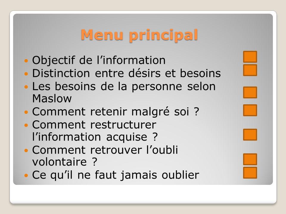 Menu principal Objectif de l'information