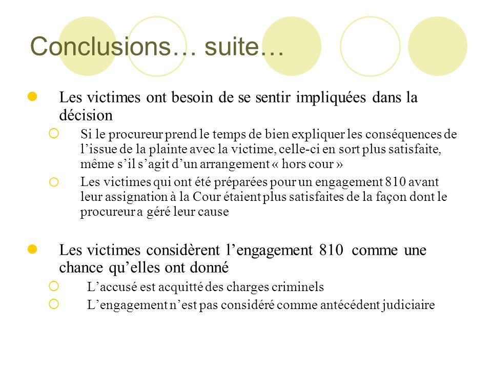 Conclusions… suite… Les victimes ont besoin de se sentir impliquées dans la décision.