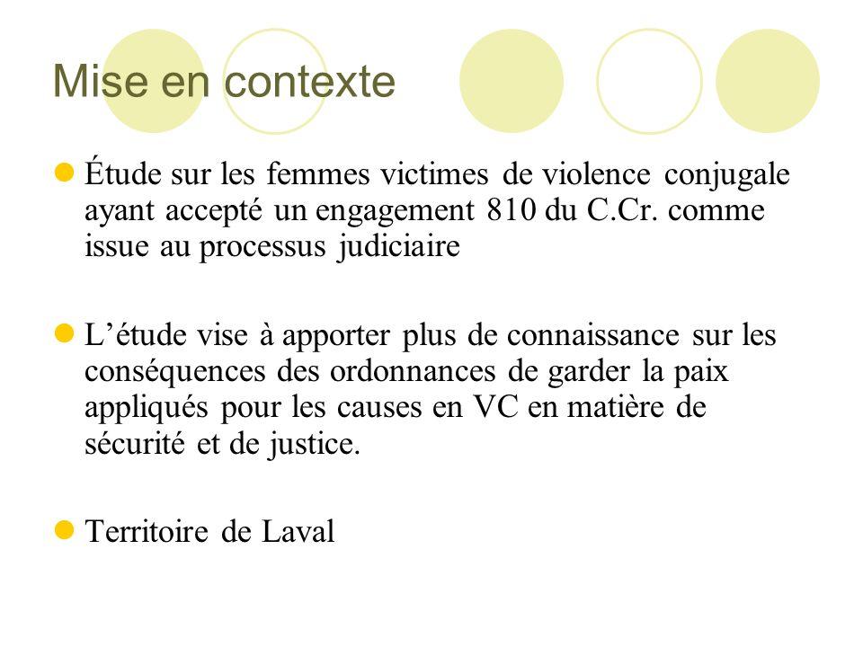 Mise en contexte Étude sur les femmes victimes de violence conjugale ayant accepté un engagement 810 du C.Cr. comme issue au processus judiciaire.