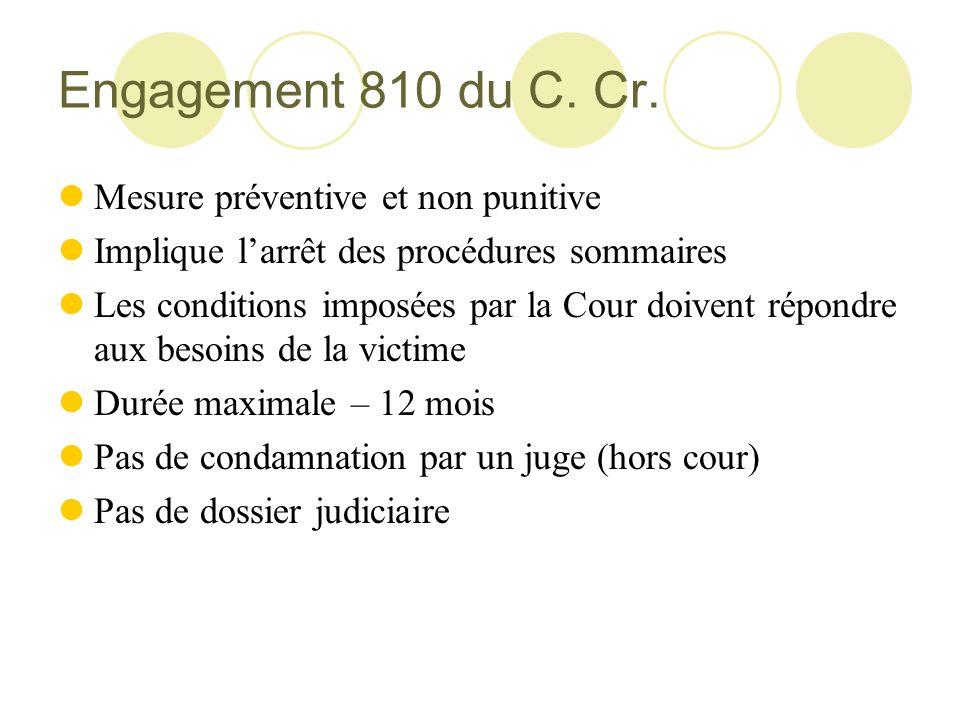 Engagement 810 du C. Cr. Mesure préventive et non punitive