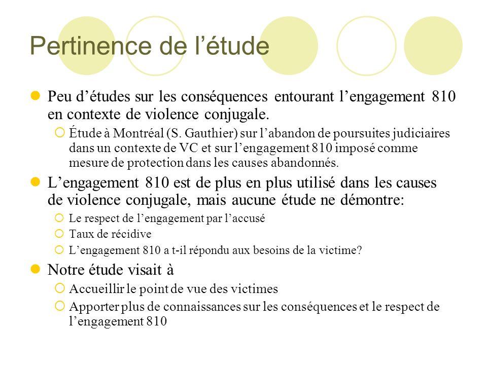 Pertinence de l'étude Peu d'études sur les conséquences entourant l'engagement 810 en contexte de violence conjugale.