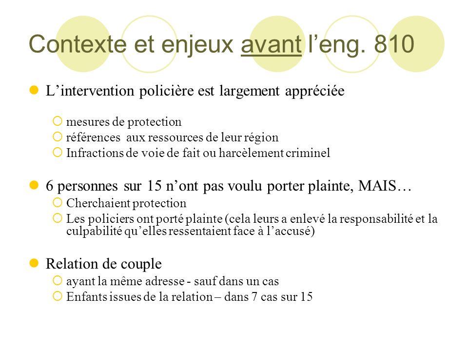 Contexte et enjeux avant l'eng. 810
