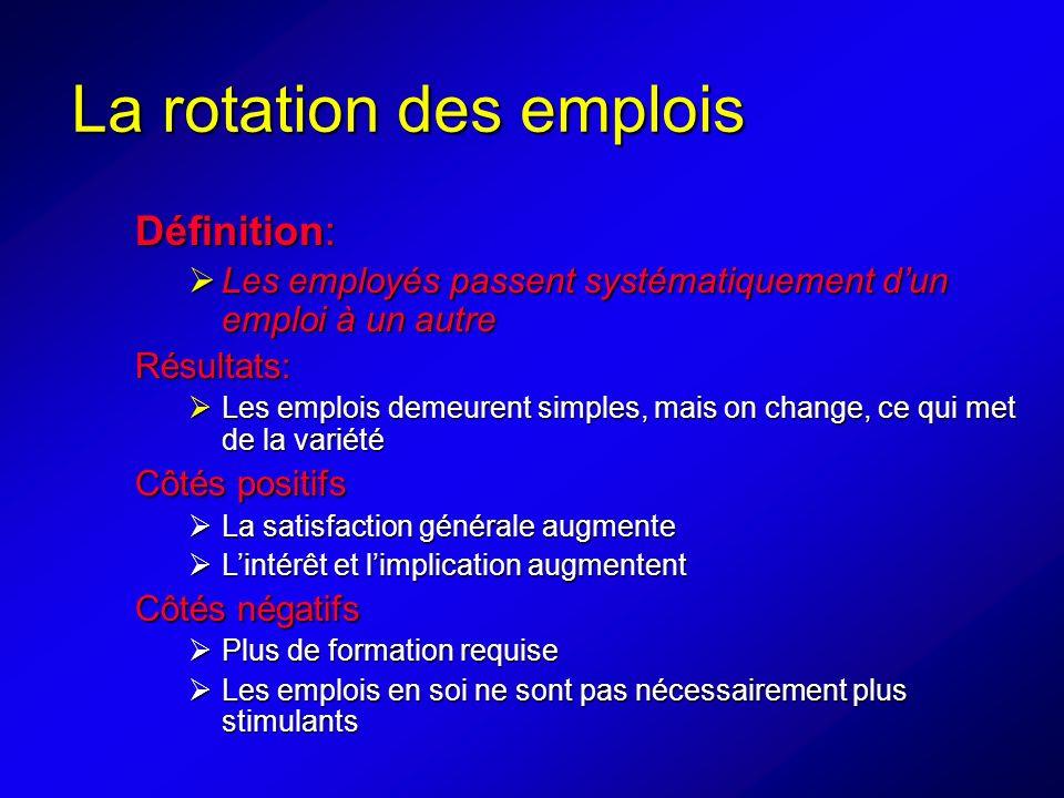 La rotation des emplois