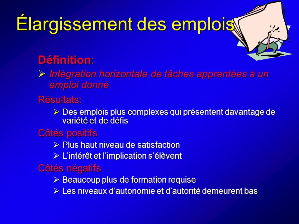 Élargissement des emplois
