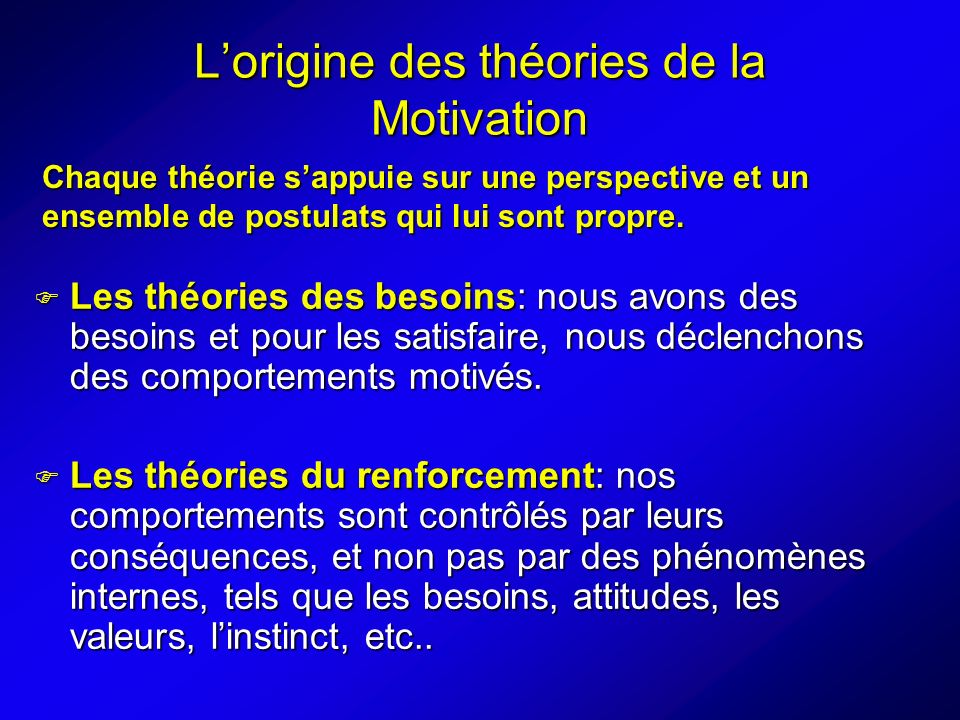 L'origine des théories de la Motivation
