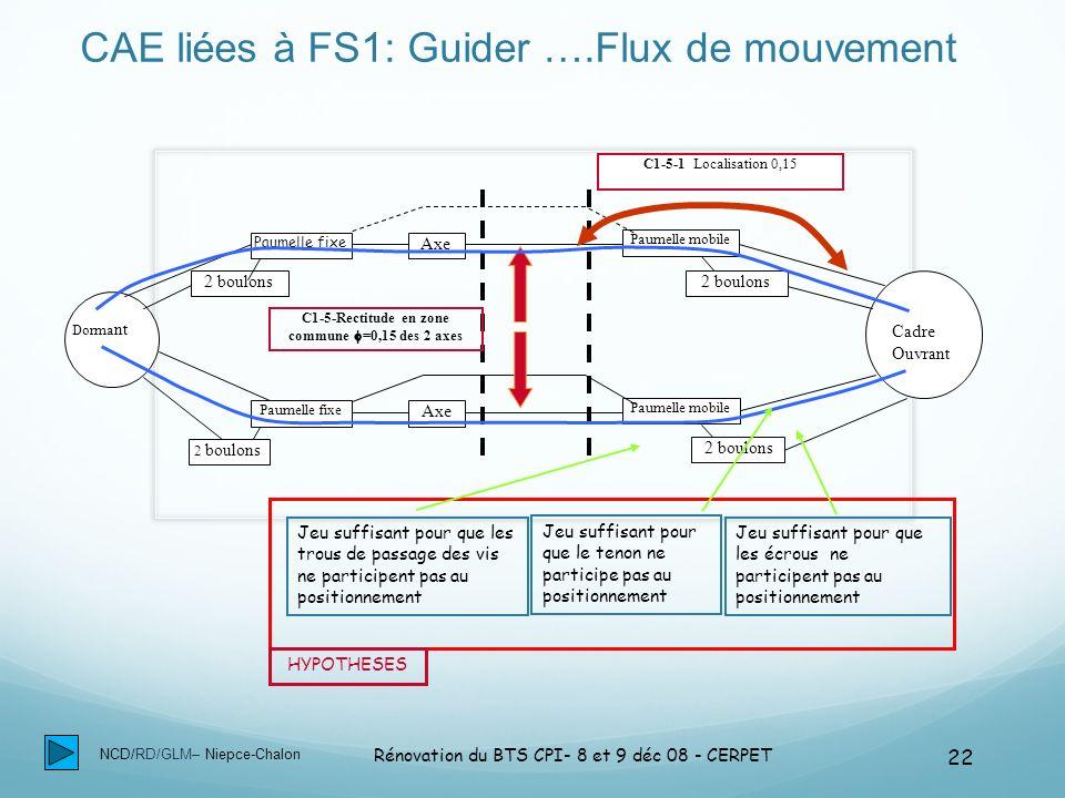 CAE liées à FS1: Guider ….Flux de mouvement