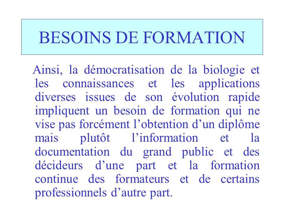 BESOINS DE FORMATION