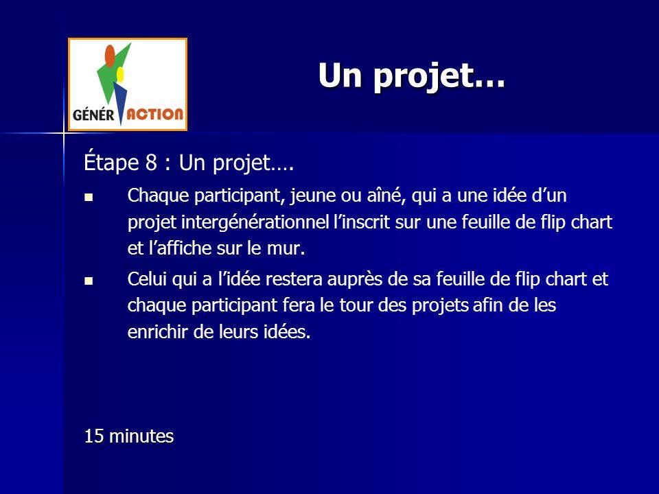 Un projet… Étape 8 : Un projet….