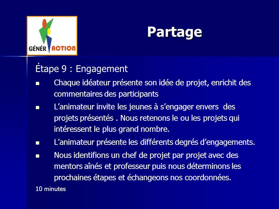 Partage Étape 9 : Engagement