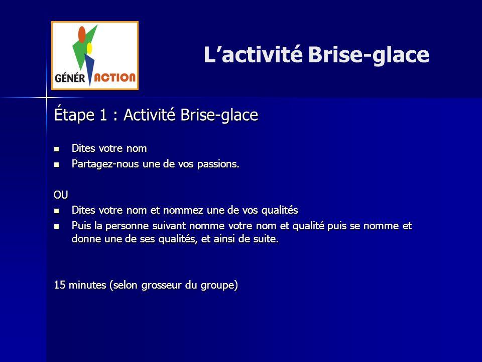 L'activité Brise-glace