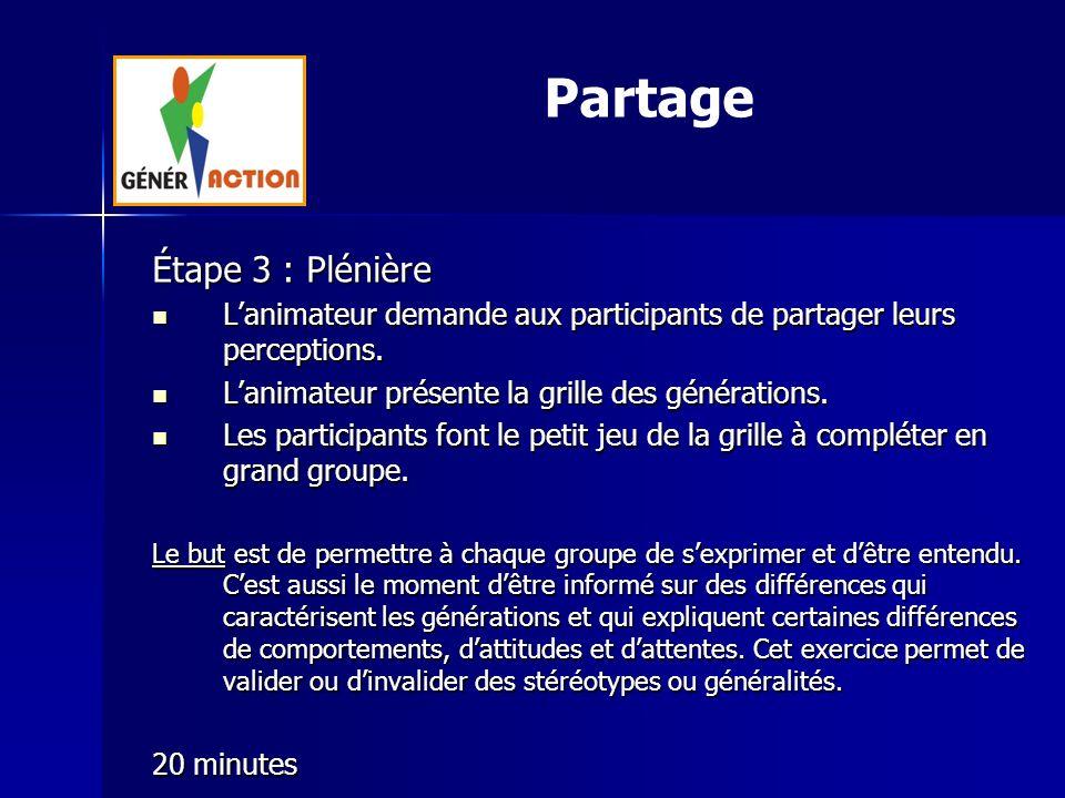 Partage Étape 3 : Plénière