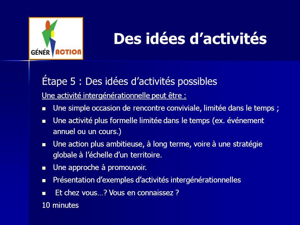 Des idées d'activités Étape 5 : Des idées d'activités possibles