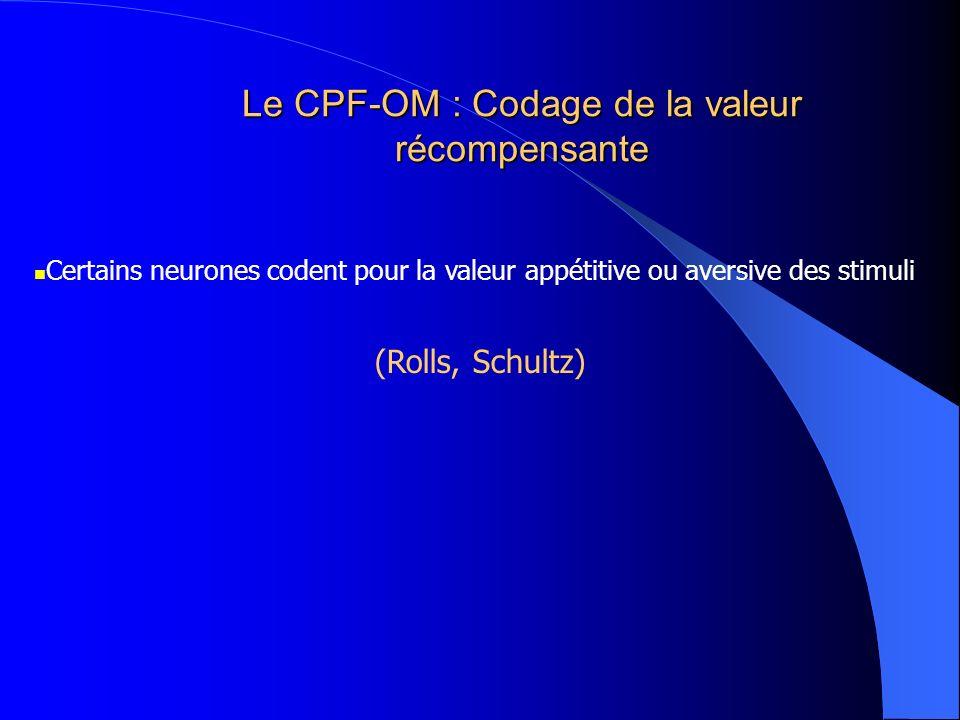 Le CPF-OM : Codage de la valeur récompensante