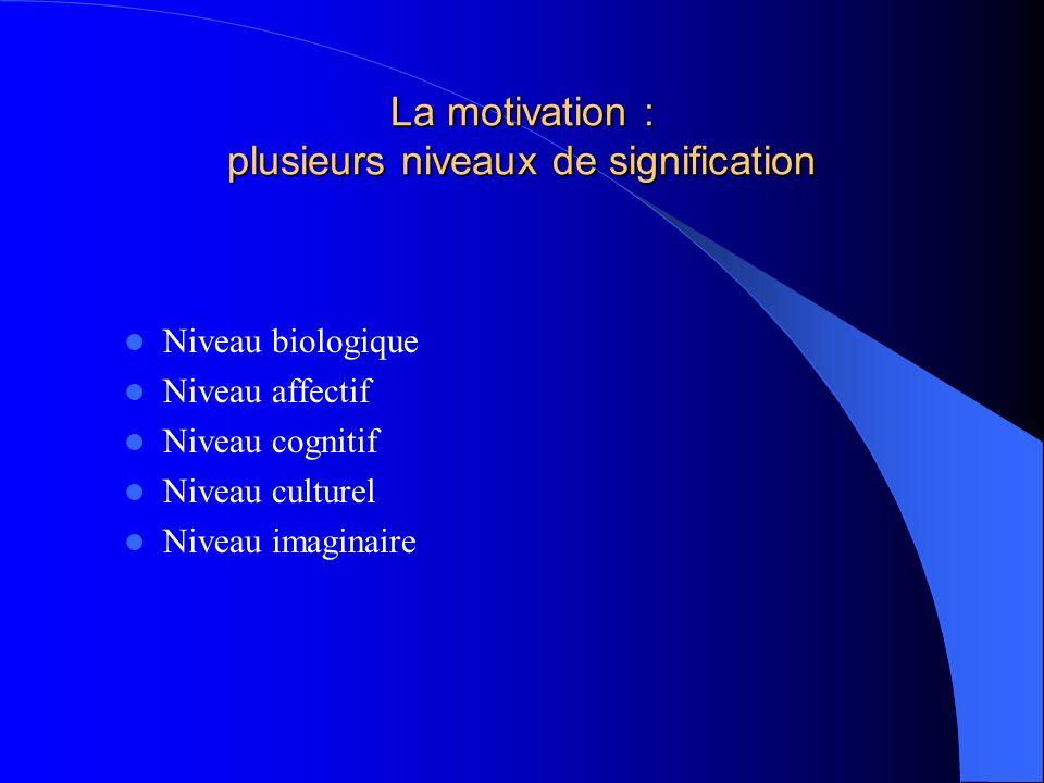 La motivation : plusieurs niveaux de signification
