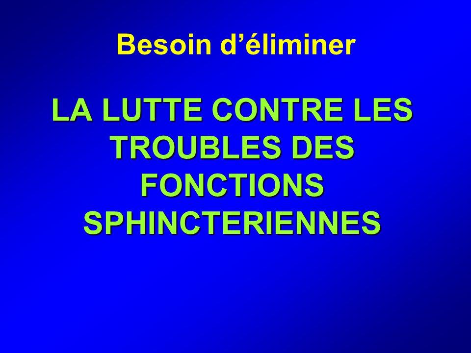 LA LUTTE CONTRE LES TROUBLES DES FONCTIONS SPHINCTERIENNES