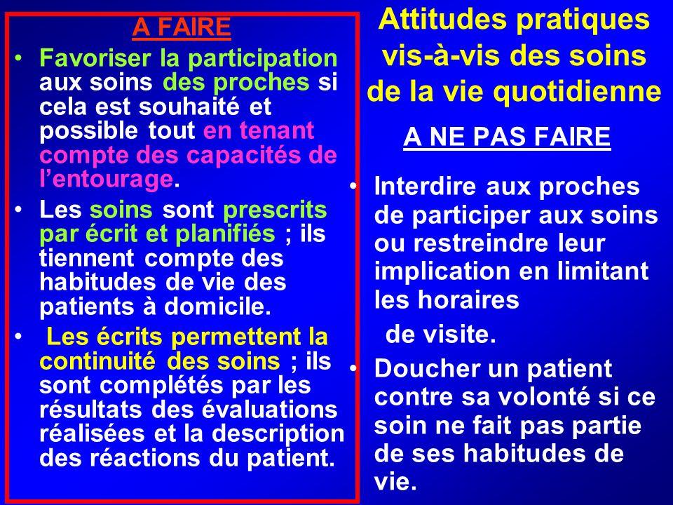 Attitudes pratiques vis-à-vis des soins de la vie quotidienne