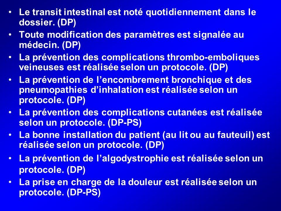 Le transit intestinal est noté quotidiennement dans le dossier. (DP)