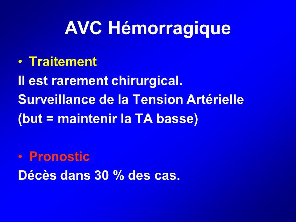 AVC Hémorragique Traitement Il est rarement chirurgical.