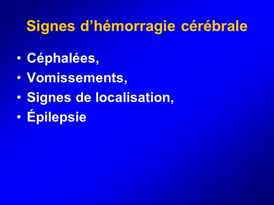 Signes d'hémorragie cérébrale