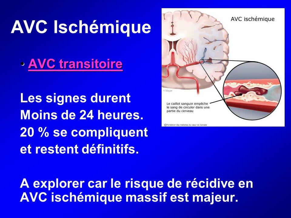 AVC Ischémique AVC transitoire Les signes durent Moins de 24 heures.