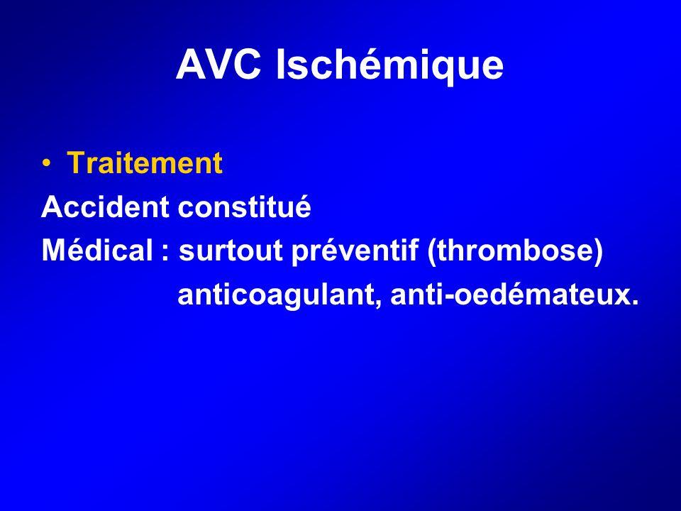 AVC Ischémique Traitement Accident constitué