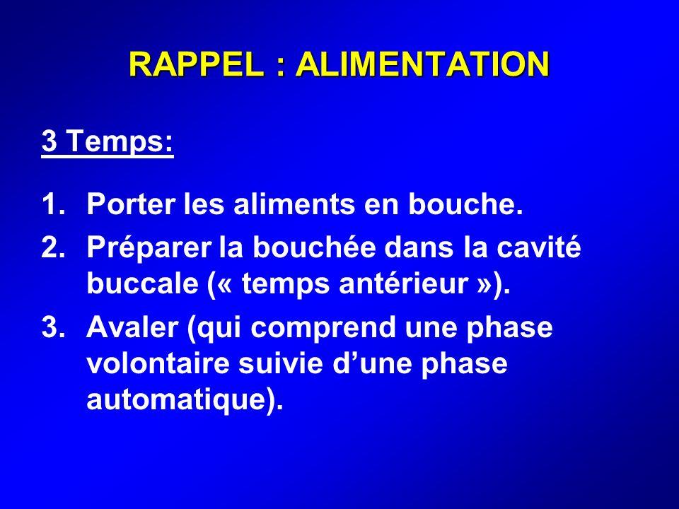 RAPPEL : ALIMENTATION 3 Temps: Porter les aliments en bouche.