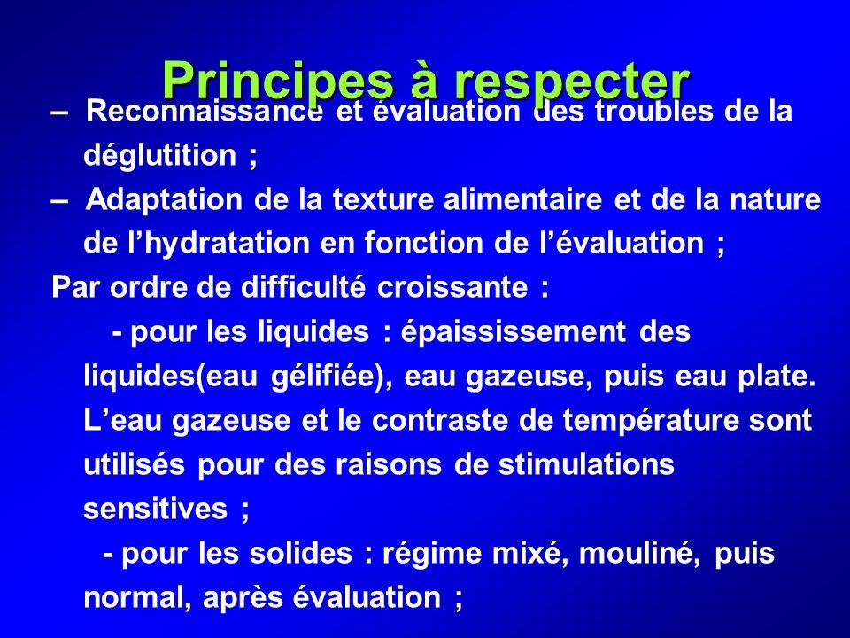 Principes à respecter – Reconnaissance et évaluation des troubles de la déglutition ;